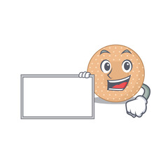 Wall Mural - Cartoon character style of rounded bandage holding a white board