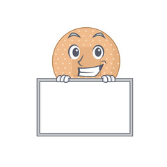 Wall Mural - Funny cartoon design style rounded bandage standing behind a board