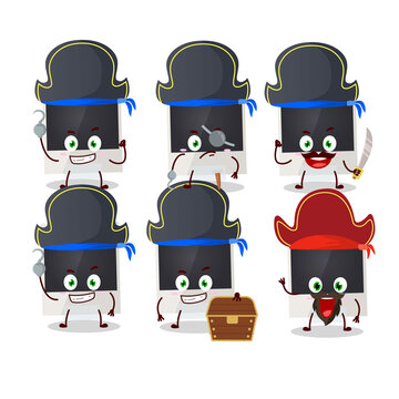 Cartoon character of black polaroid with various pirates emoticons