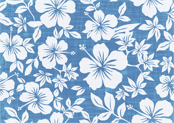 Background illustration with hibiscus pattern for vintage aloha shirt design. seamless.blue.