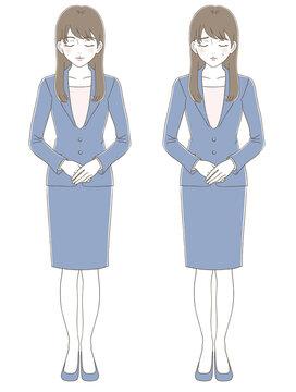 手描き風 スーツを着た女性のビジネス全身イラストセット