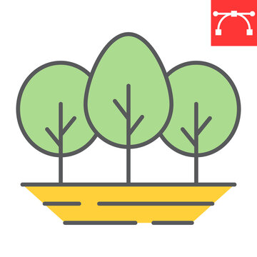 Forest color line icon, nature and ecology, tree sign vector graphics, editable stroke colorful linear icon, eps 10.
