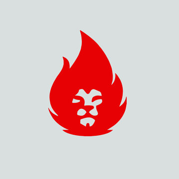 Flaming Red Lion Head Logo Concept