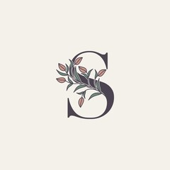 Ornate Initial Letter S logo icon, vector alphabet with flower and natural leaf designs