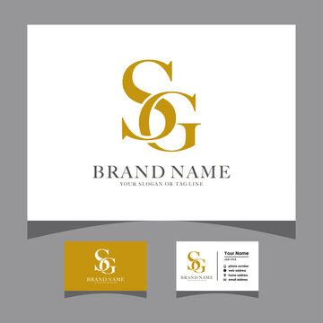 initials SG logo with a business card vector
