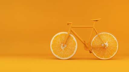 Health concept bike with orange wheels 3d rendering background