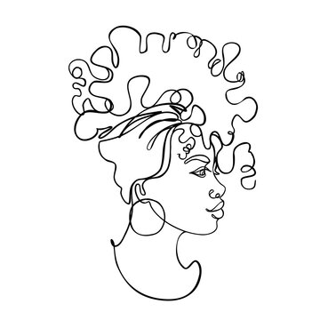 Abstract portrait of young African American woman. Continuous one line drawing isolated on white. Vector illustration in simple modern style.