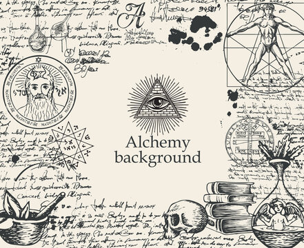 Alchemy background. Vintage artistic illustration on alchemical theme with black hand-drawn sketches, handwritten scribbles and notes, ink blots and place for text on the old paper background