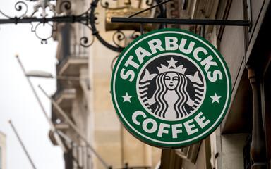 Starbucks Coffee Shop Sign - Mar 2015.