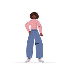 Wall Mural - cute woman in casual trendy clothes female cartoon character standing pose full length isolated vector illustration