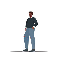 Wall Mural - cute man in casual trendy clothes guy holding hads in pockets male cartoon character standing pose full length isolated vector illustration