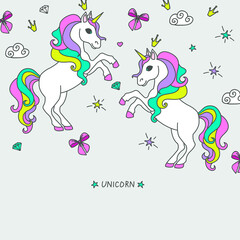 Vector cartoon cute unicorns with , clouds and stars, greeting card.