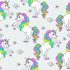 Seamless pattern with unicorns, stars and clouds. Magical children's background.
