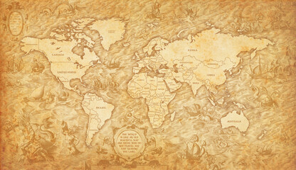 Photo sur Plexiglas Amérique du Sud Old map of the world on a old parchment background. Vintage style. Elements of this Image courtesy of NASA