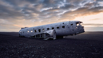 Old crashed military plane in a desert in Iceland