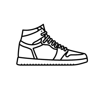 2D black and white vector illustration of a high-top shoe, reminiscent of classic styles such as Nike Air Force 1 High, Jordan 1, Adidas Top Ten Hi, Vans SK8-Hi.