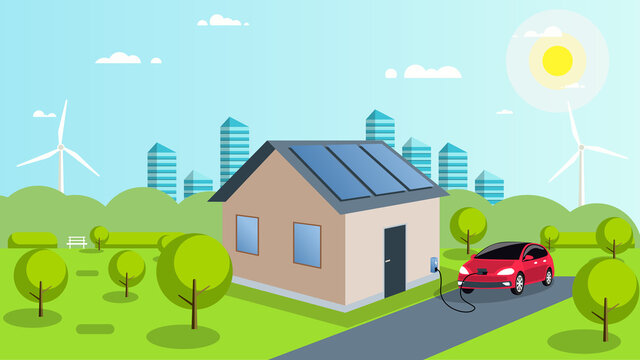 An electric car is charged by solar energy. Solar panels on the roof of the house. Car in the parking lot at home. Ecological smart city of the future with renewable energy. Vector