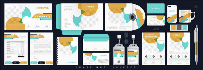 Corporate identity set branding template design kit. editable brand identity with abstract background color for Business Company and Finance Vector
