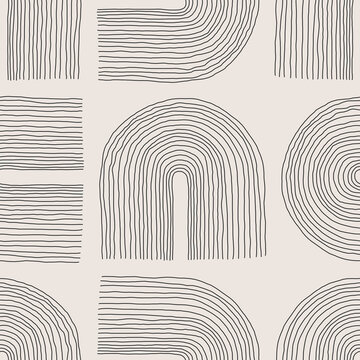 Minimalist seamless pattern with abstract creative artistic hand drawn composition