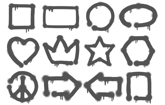 Set of graffiti doodles and sketches with a variety of icons in a grey paint texture on white for design elements, vector illustration