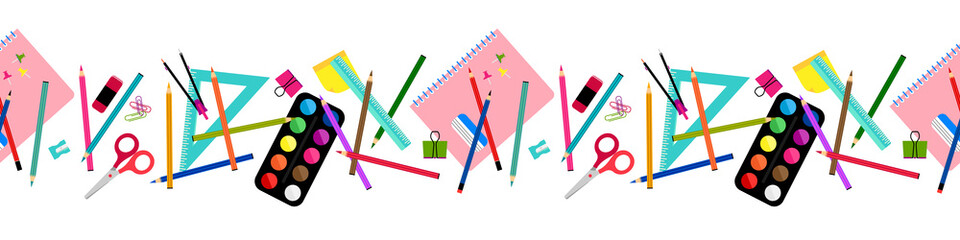 School elements seamless border, banner pattern design. Back to school concept design with compasses, colored crayons, erasers, scissors, paper clips, sharpener, ruler, notebook, watercolor
