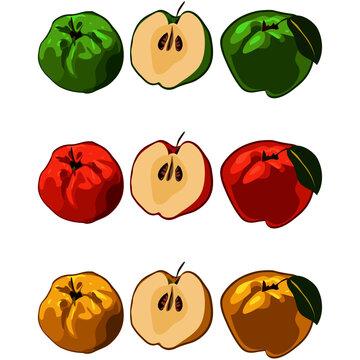 manzana verde rojo amarillo
