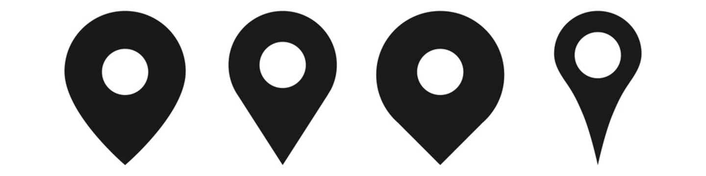 Location pin icon. Map attach marker place. Location icon. Map pointer marker icon set. GPS location character collection. Flat vector illustration isolated on white background.