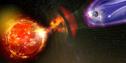 Earth's magnetic field against Sun's solar wind, flow of particles. Element of this image is furnished by NASA