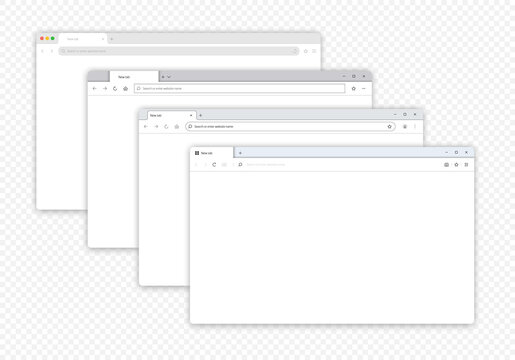 Four different Mock-ups blank browser window for your design isolated transparent background. Vector illustration EPS 10