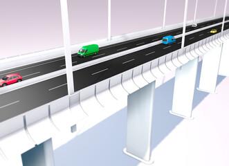 New Genoa bridge project, bridge reconstruction from Renzo Piano's project. Morandi bridge. 3d render. Liguria region. Italy