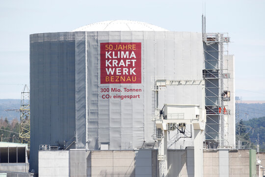 A banner is placed at the nuclear power plant KKW Beznau of Swiss energy company Axpo near Beznau