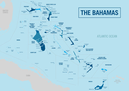 Bahamas Islands country political map. Detailed vector illustration with isolated provinces, islands, regions, departments, states and cities, easy to ungroup.