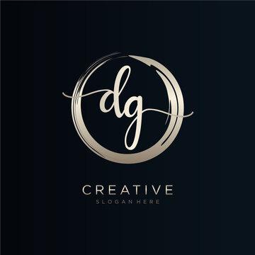DG initial handwriting logo template vector.