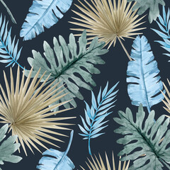 Beautiful seamless pattern with watercolor tropical leaves. Stock illustration