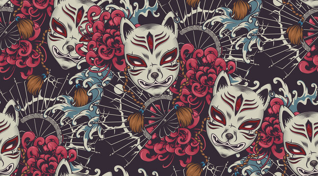 Japanese theme vector seamless pattern with a Kitsune mask. All colors are in a separate group. Ideal for printing onto fabric and decoration