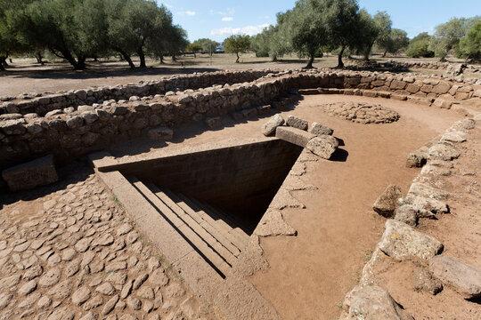 Ancient sacred well of Santa Cristina near Paulilatino, Oristano, Sardinia, Italy.