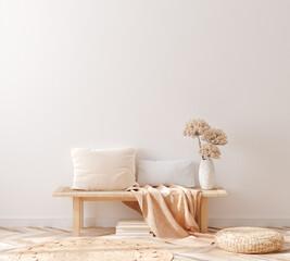 Scandinavian style living room, interior in pastel colors, wall mockup, 3d render
