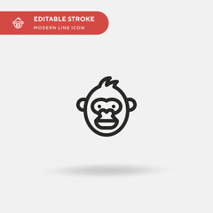 Monkey Simple vector icon. Illustration symbol design template for web mobile UI element. Perfect color modern pictogram on editable stroke. Monkey icons for your business project