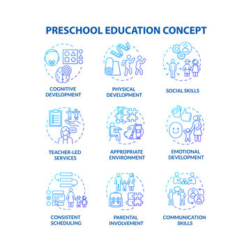 Kids preschool education concept icons set. Childcare center. Parenting and toddlers development. Early childhood idea thin line RGB color illustrations. Vector isolated outline drawings