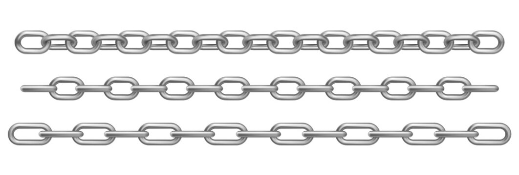Chrome metal chains isolated on white background. Vector realistic set of straight heavy steel chains with different size links. Frame or border pattern with connected stainless rings