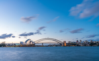 Garden Poster Oceania Sydney harbor skyline at night with Sydney harbor bridge, NSW, Australia