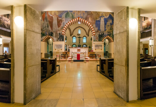 PECS, HUNGARY - SEPTEMBER 14, 2016:  Interior of Candlemas Church of the Blessed Virgin Mary, formerly known as the Mosque of Pasha Qasim, which was a mosque due to the Ottoman conquest.