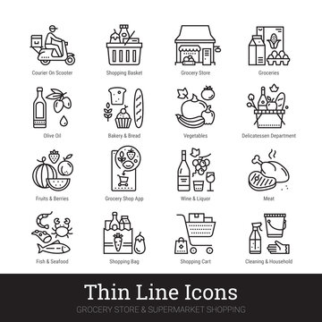Grocery store, supermarket departments, online shopping, delivery thin line icons for web, mobile app. Editable stroke. Shop vector set include icons: groceries, shop basket, courier, meat, deli, vegs