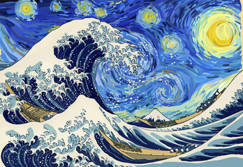 The Great Wave Off Kanagawa in the Starry Night. Combination of digital reproductions of Vincent van Gogh and Katsushika Hokusai paintings in Low Poly style. Conceptual Polygonal Vector Illustration.