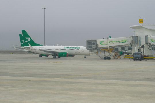 ASHGABAT, TURKMENISTAN - JANUARY 05, 2019: Foggy winter day of the Ashgabat international airport