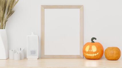 Photo frame mockup on table with halloween decoration