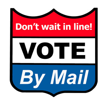 Vote by mail promotional emblem promoting one advantage of voting by mail