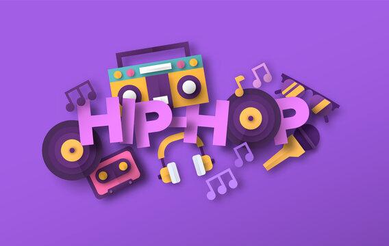 Hip hop urban music papercut musical icon quote