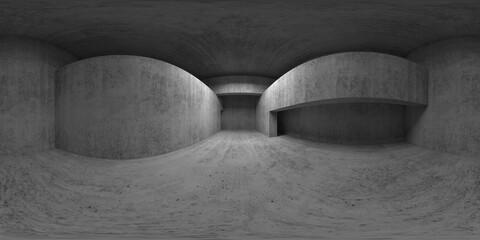 360 degree panorama. Abstract empty concrete interior
