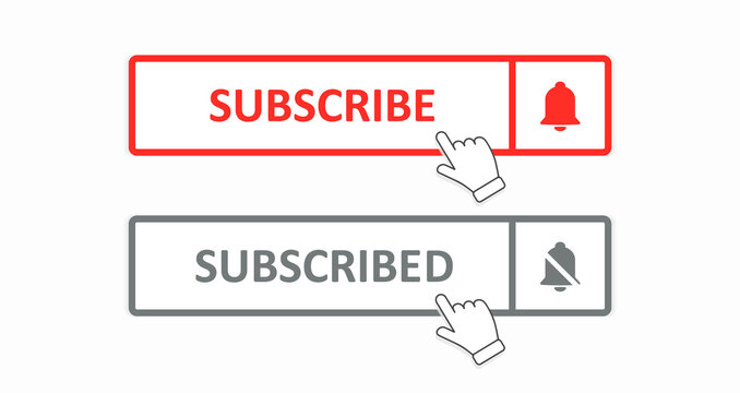 Subscribe button. Social media network concept. User interface element. A set of colored rectangular subscribe and subscribed buttons isolated on a white background. Vector illustration